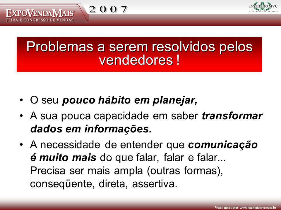 Visite nosso site: www.institutomvc.com.br Problemas a serem resolvidos pelos vendedores ! O seu pouco hábito em planejar, A sua pouca capacidade em s