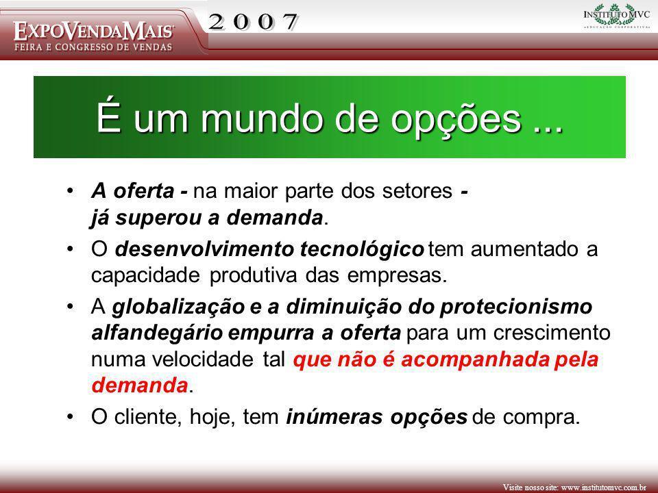 Visite nosso site: www.institutomvc.com.br É um mundo de opções... A oferta - na maior parte dos setores - já superou a demanda. O desenvolvimento tec