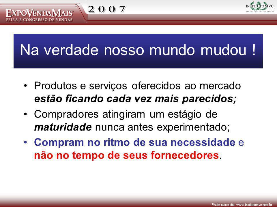 Visite nosso site: www.institutomvc.com.br Na verdade nosso mundo mudou ! Produtos e serviços oferecidos ao mercado estão ficando cada vez mais pareci