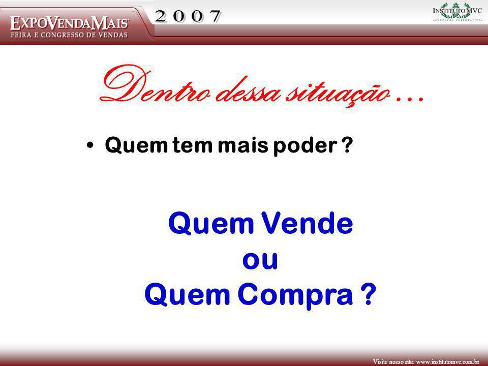 Visite nosso site: www.institutomvc.com.br Quem Vende ou Quem Compra ? Quem tem mais poder ? Dentro dessa situação...