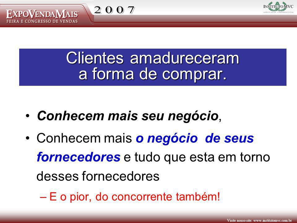 Visite nosso site: www.institutomvc.com.br Clientes amadureceram a forma de comprar. Conhecem mais seu negócio, Conhecem mais o negócio de seus fornec