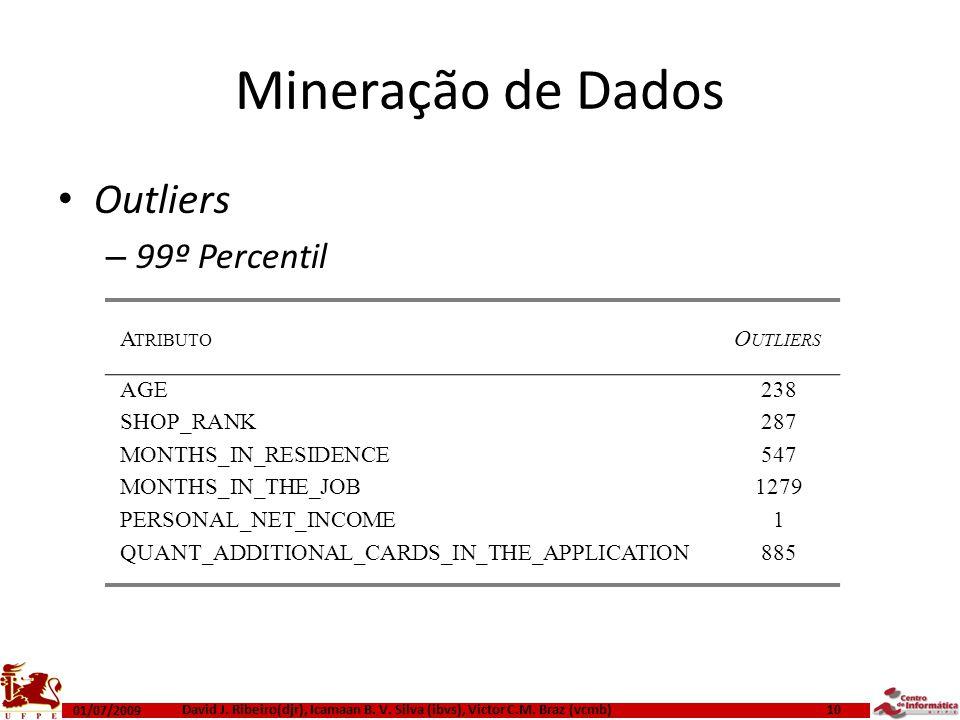 Mineração de Dados Outliers – 99º Percentil 01/07/2009 David J. Ribeiro(djr), Icamaan B. V. Silva (ibvs), Victor C.M. Braz (vcmb) 10 A TRIBUTO O UTLIE