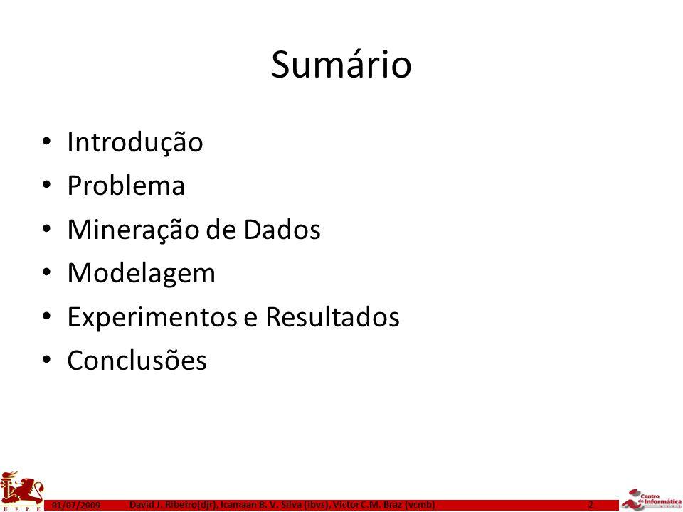 Sumário Introdução Problema Mineração de Dados Modelagem Experimentos e Resultados Conclusões 01/07/2009 2 David J. Ribeiro(djr), Icamaan B. V. Silva