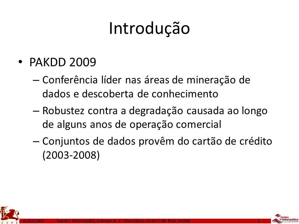 Introdução PAKDD 2009 – Conferência líder nas áreas de mineração de dados e descoberta de conhecimento – Robustez contra a degradação causada ao longo