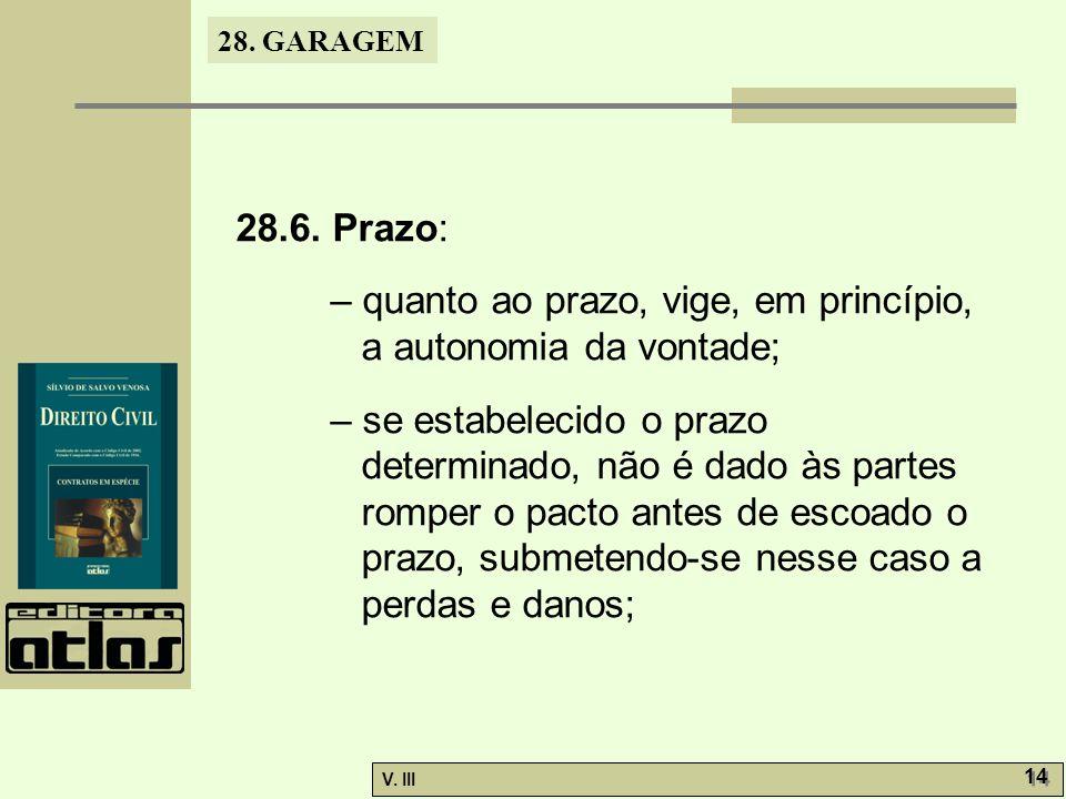 28. GARAGEM V. III 14 28.6. Prazo: – quanto ao prazo, vige, em princípio, a autonomia da vontade; – se estabelecido o prazo determinado, não é dado às