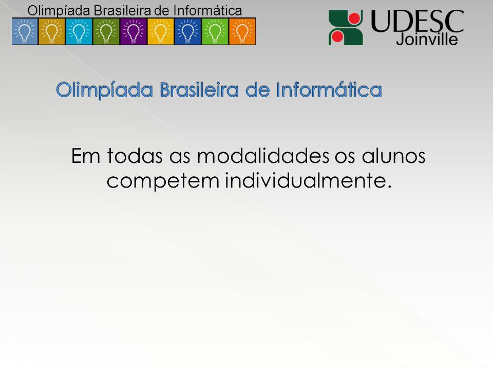 Em todas as modalidades os alunos competem individualmente. Olimpíada Brasileira de Informática