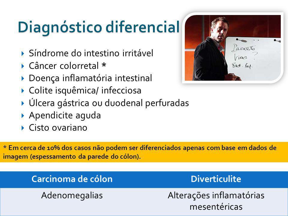Síndrome do intestino irritável Câncer colorretal * Doença inflamatória intestinal Colite isquêmica/ infecciosa Úlcera gástrica ou duodenal perfuradas