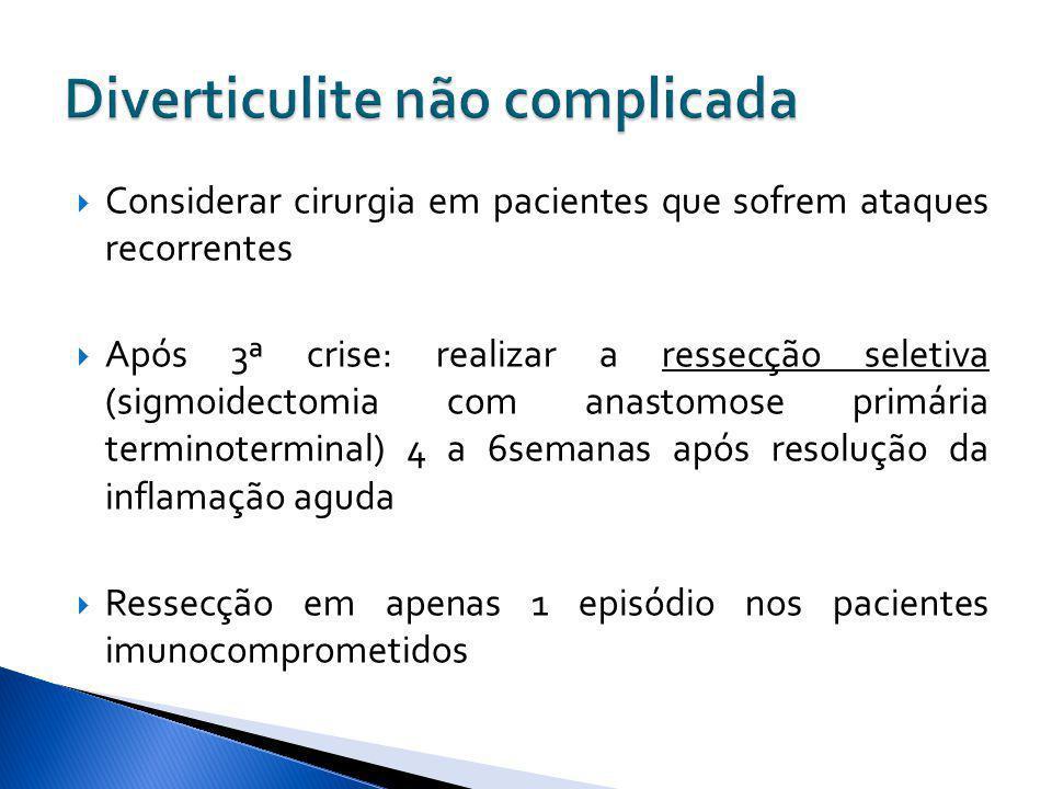 Considerar cirurgia em pacientes que sofrem ataques recorrentes Após 3ª crise: realizar a ressecção seletiva (sigmoidectomia com anastomose primária t