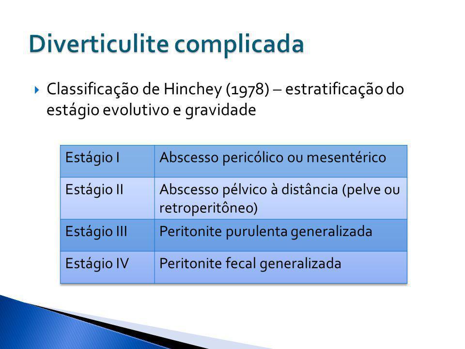 Classificação de Hinchey (1978) – estratificação do estágio evolutivo e gravidade