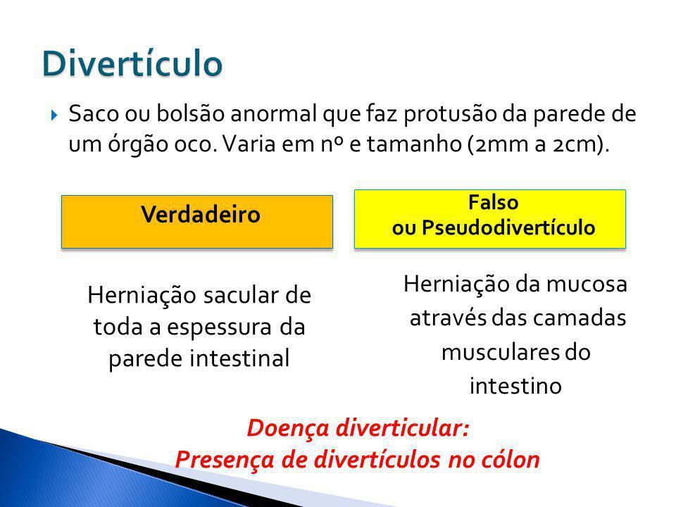 Verdadeiro Falso ou Pseudodivertículo Falso ou Pseudodivertículo Saco ou bolsão anormal que faz protusão da parede de um órgão oco. Varia em nº e tama