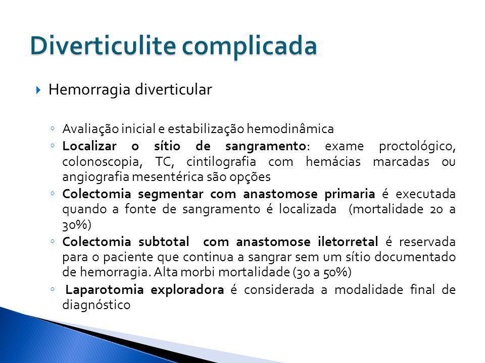 Hemorragia diverticular Avaliação inicial e estabilização hemodinâmica Localizar o sítio de sangramento: exame proctológico, colonoscopia, TC, cintilo