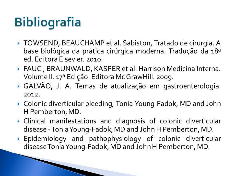 TOWSEND, BEAUCHAMP et al. Sabiston, Tratado de cirurgia. A base biológica da prática cirúrgica moderna. Tradução da 18ª ed. Editora Elsevier. 2010. FA