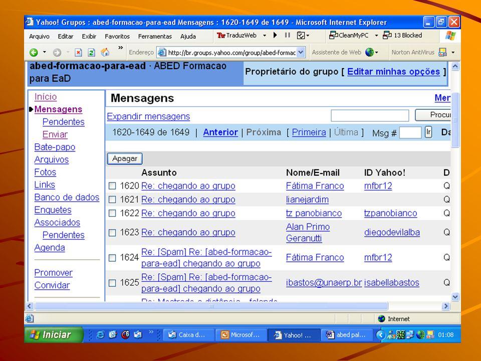 Enviar mensagem: abed-formacao-para-ead @yahoogrupos.com.br Assinar: abed-formacao-para-ead- subscribe@yahoogrupos.com.br Cancelar assinatura: abed-formacao-para-ead- unsubscribe@yahoogrupos.com.br Proprietário da lista: abed-formacao-para-ead- owner@yahoogrupos.com.br Endereços de e-mail da comunidade
