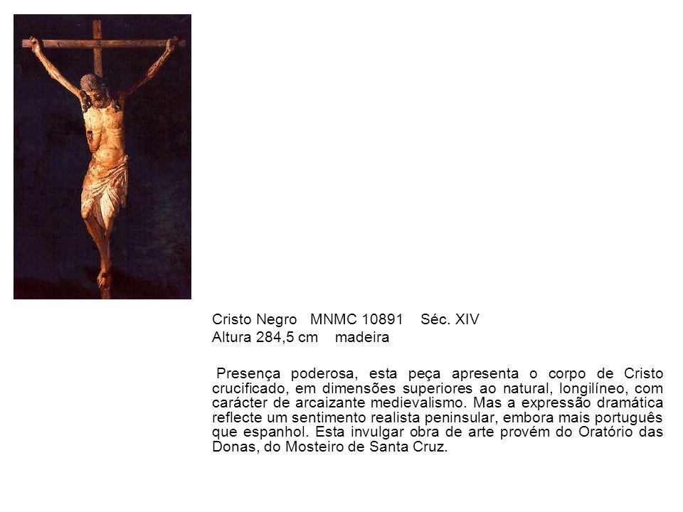 Cristo Negro MNMC 10891 Séc. XIV Altura 284,5 cm madeira Presença poderosa, esta peça apresenta o corpo de Cristo crucificado, em dimensões superiores