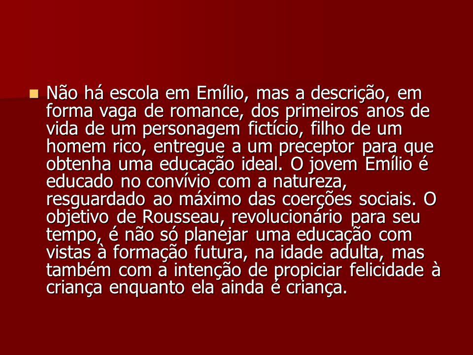 Não há escola em Emílio, mas a descrição, em forma vaga de romance, dos primeiros anos de vida de um personagem fictício, filho de um homem rico, entr