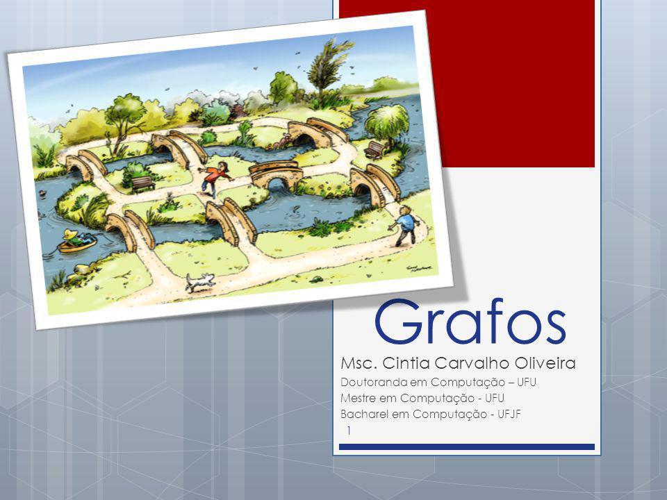 Grafos Msc. Cintia Carvalho Oliveira Doutoranda em Computação – UFU Mestre em Computação - UFU Bacharel em Computação - UFJF 1