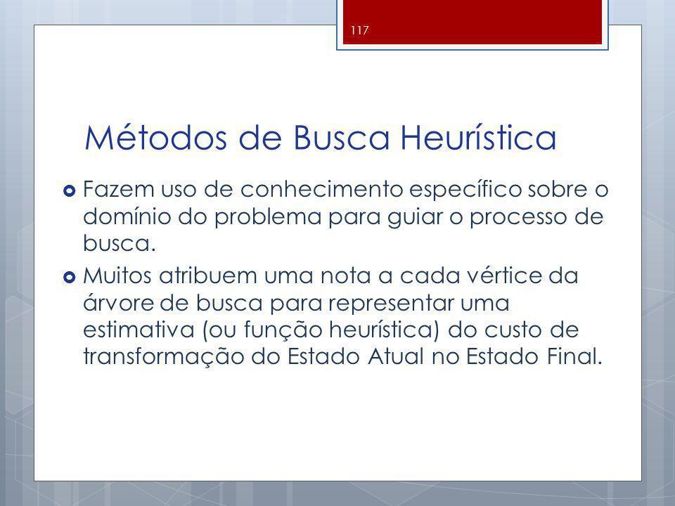 Métodos de Busca Heurística Fazem uso de conhecimento específico sobre o domínio do problema para guiar o processo de busca. Muitos atribuem uma nota