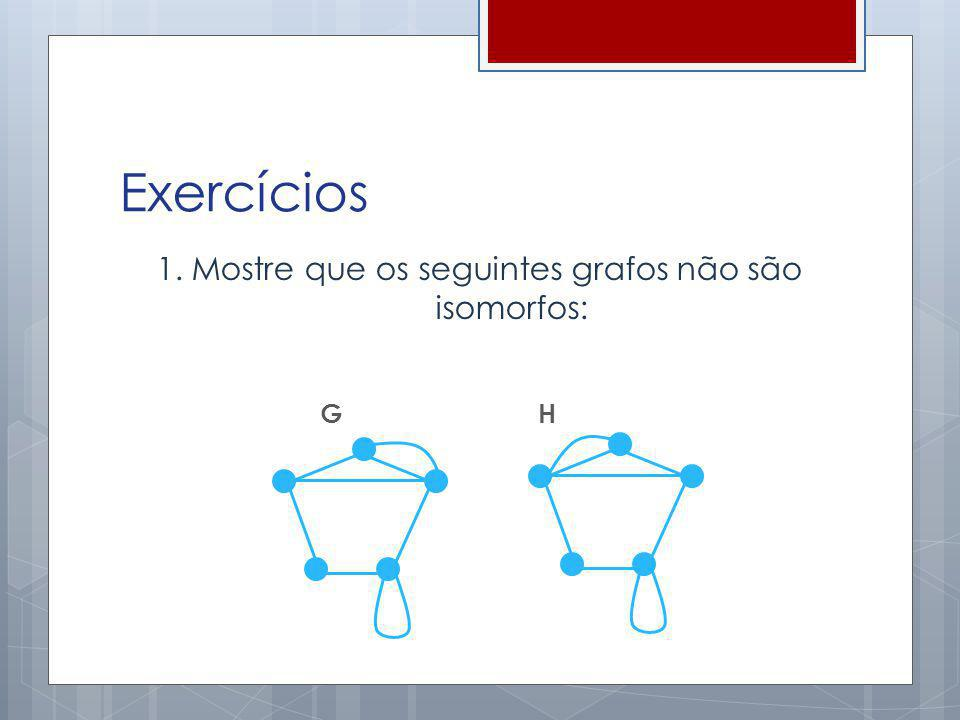 Exercícios 1. Mostre que os seguintes grafos não são isomorfos: G H
