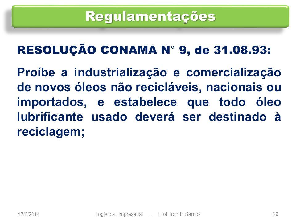 RESOLUÇÃO CONAMA N° 257, de 30.07.99: Estabelece que pilhas e baterias usadas que contenham chumbo, cádmio, mercúrio e seus compostos devem ser entregues aos que as comercializam, ou às redes de assistência técnica autorizadas, para repasse aos fabricantes ou importadores, para que estes adotem, diretamente ou por meio de terceiros, os procedimentos de reutilização, reciclagem, tratamento ou disposição final ambientalmente adequada; 17/6/2014 30Logística Empresarial - Prof.
