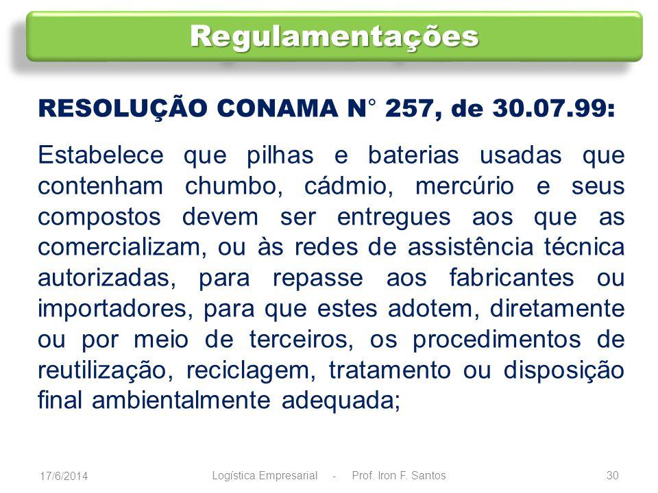 RESOLUÇÃO CONAMA N° 258, de 26.08.99: Estabelece que as empresas fabricantes e as importadoras de pneus ficam obrigadas a coletar e dar destinação final, ambientalmente adequada, aos pneus inservíveis, proporcionalmente às quantidades fabricadas e importadas.