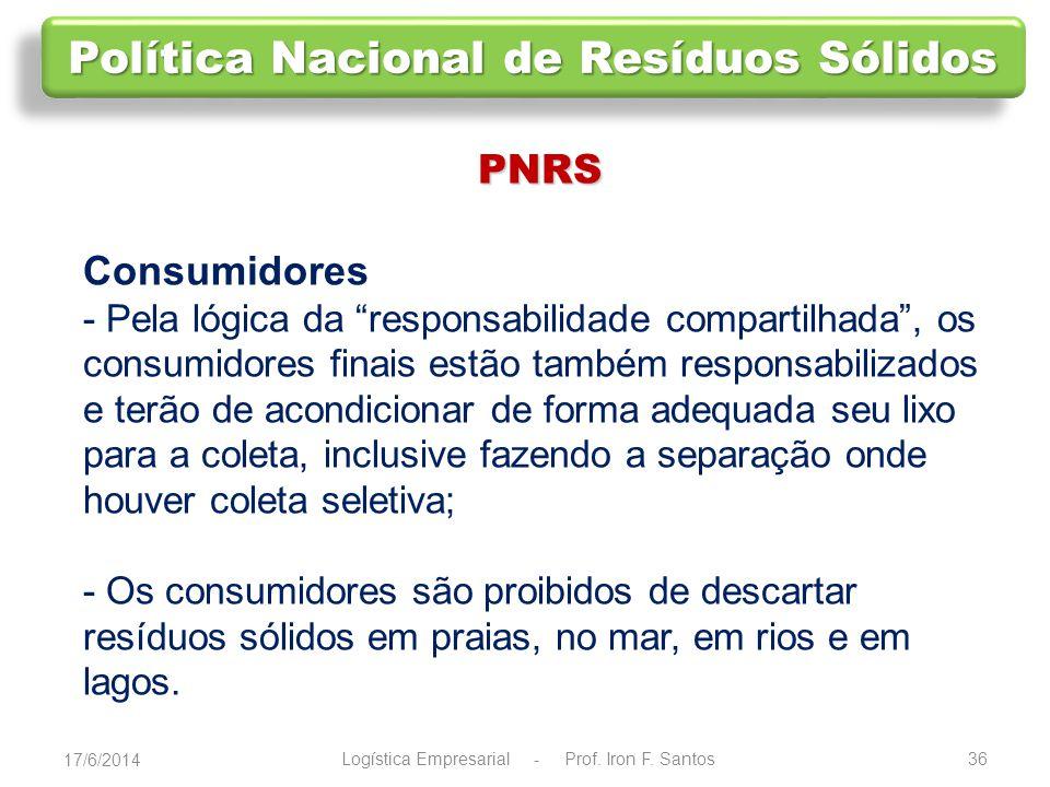 37 PNRS Indústria e comércio A nova lei cria a logística reversa, que obriga fabricantes, importadores, distribuidores e vendedores a criar mecanismos para recolher as embalagens após o uso.