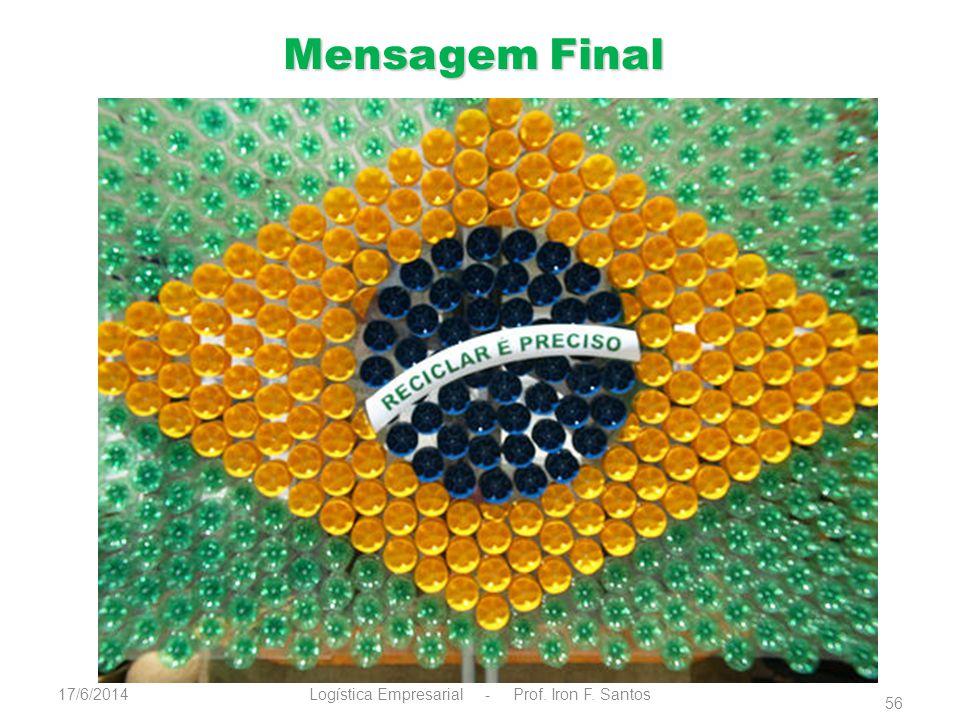 Mensagem Final Logística Empresarial - Prof. Iron F. Santos17/6/2014 56