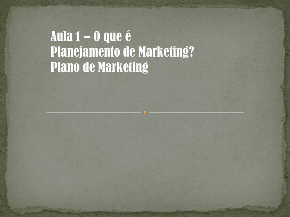 Aula 1 – O que é Planejamento de Marketing? Plano de Marketing