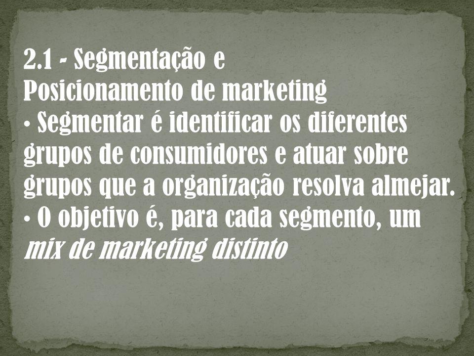 2.1 - Segmentação e Posicionamento de marketing Segmentar é identificar os diferentes grupos de consumidores e atuar sobre grupos que a organização re