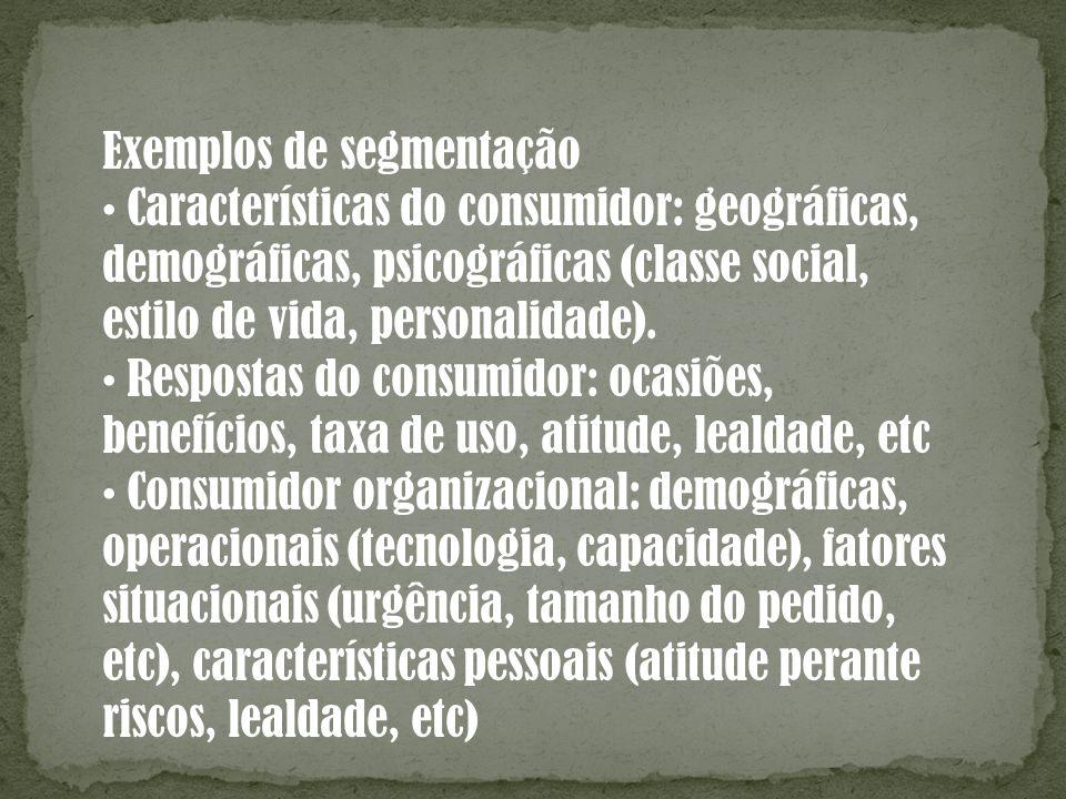 Exemplos de segmentação Características do consumidor: geográficas, demográficas, psicográficas (classe social, estilo de vida, personalidade). Respos
