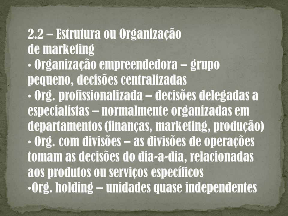 2.2 – Estrutura ou Organização de marketing Organização empreendedora – grupo pequeno, decisões centralizadas Org. profissionalizada – decisões delega