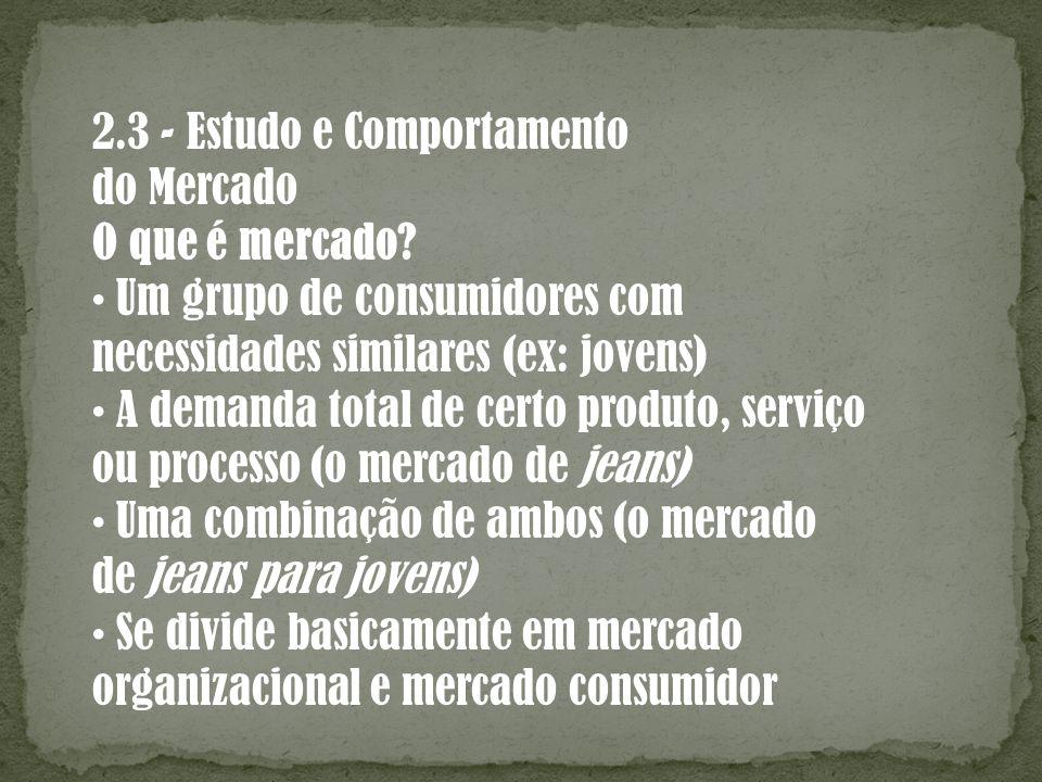 2.3 - Estudo e Comportamento do Mercado O que é mercado? Um grupo de consumidores com necessidades similares (ex: jovens) A demanda total de certo pro
