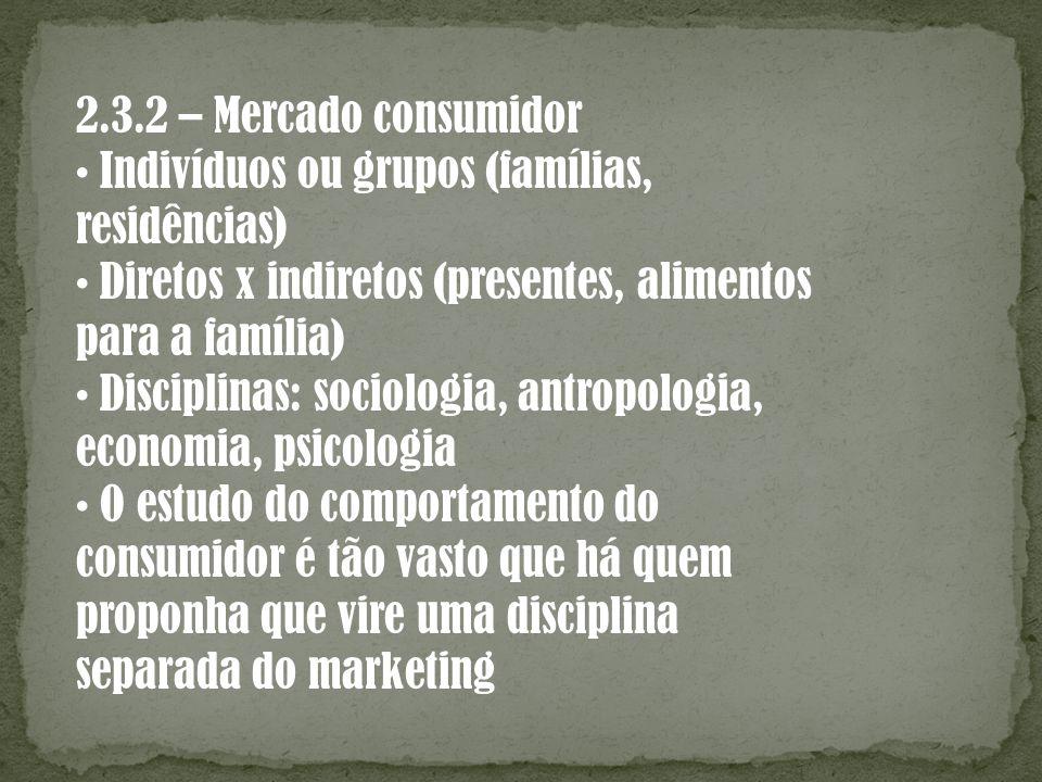 2.3.2 – Mercado consumidor Indivíduos ou grupos (famílias, residências) Diretos x indiretos (presentes, alimentos para a família) Disciplinas: sociolo