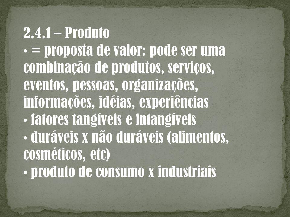 2.4.1 – Produto = proposta de valor: pode ser uma combinação de produtos, serviços, eventos, pessoas, organizações, informações, idéias, experiências