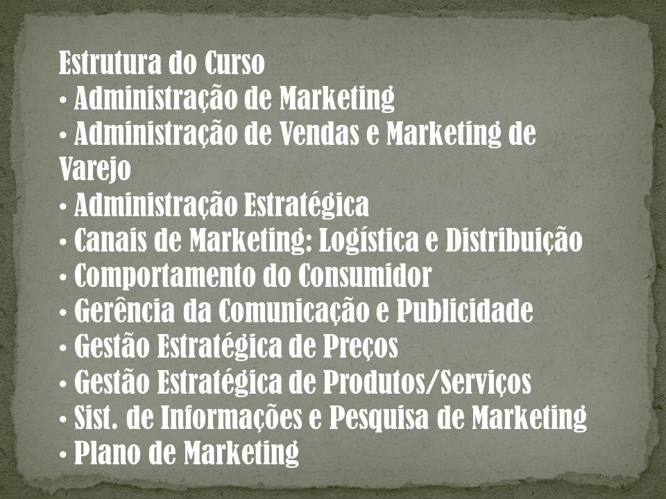 Estrutura do Curso Administração de Marketing Administração de Vendas e Marketing de Varejo Administração Estratégica Canais de Marketing: Logística e