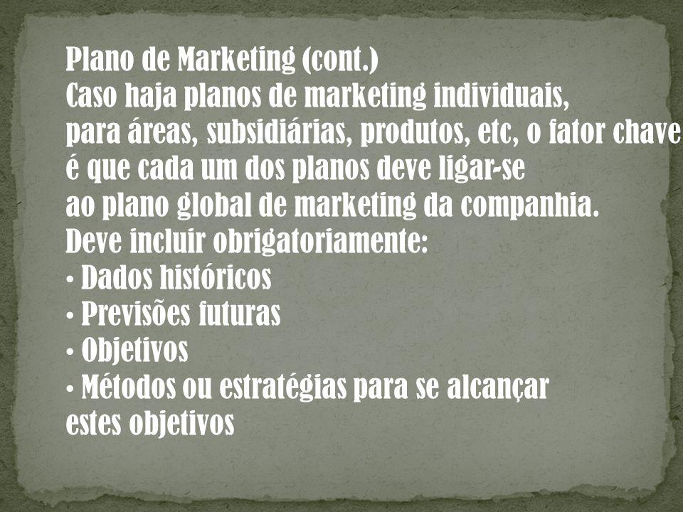 Plano de Marketing (cont.) Caso haja planos de marketing individuais, para áreas, subsidiárias, produtos, etc, o fator chave é que cada um dos planos