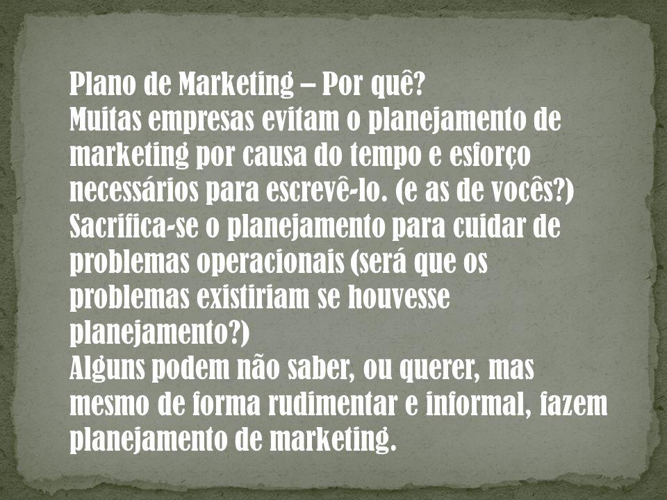 Plano de Marketing – Por quê? Muitas empresas evitam o planejamento de marketing por causa do tempo e esforço necessários para escrevê-lo. (e as de vo
