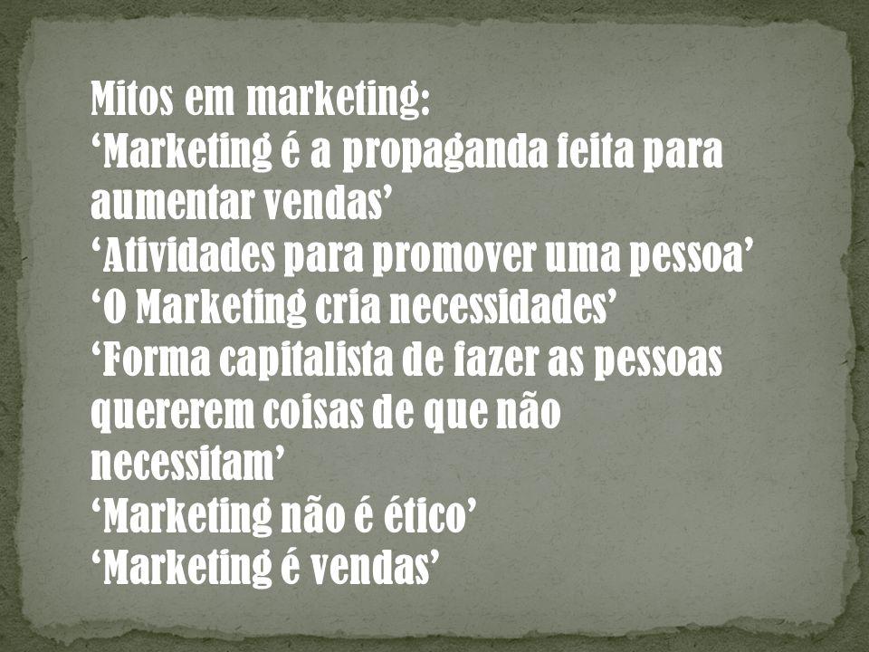 Mitos em marketing: Marketing é a propaganda feita para aumentar vendas Atividades para promover uma pessoa O Marketing cria necessidades Forma capita