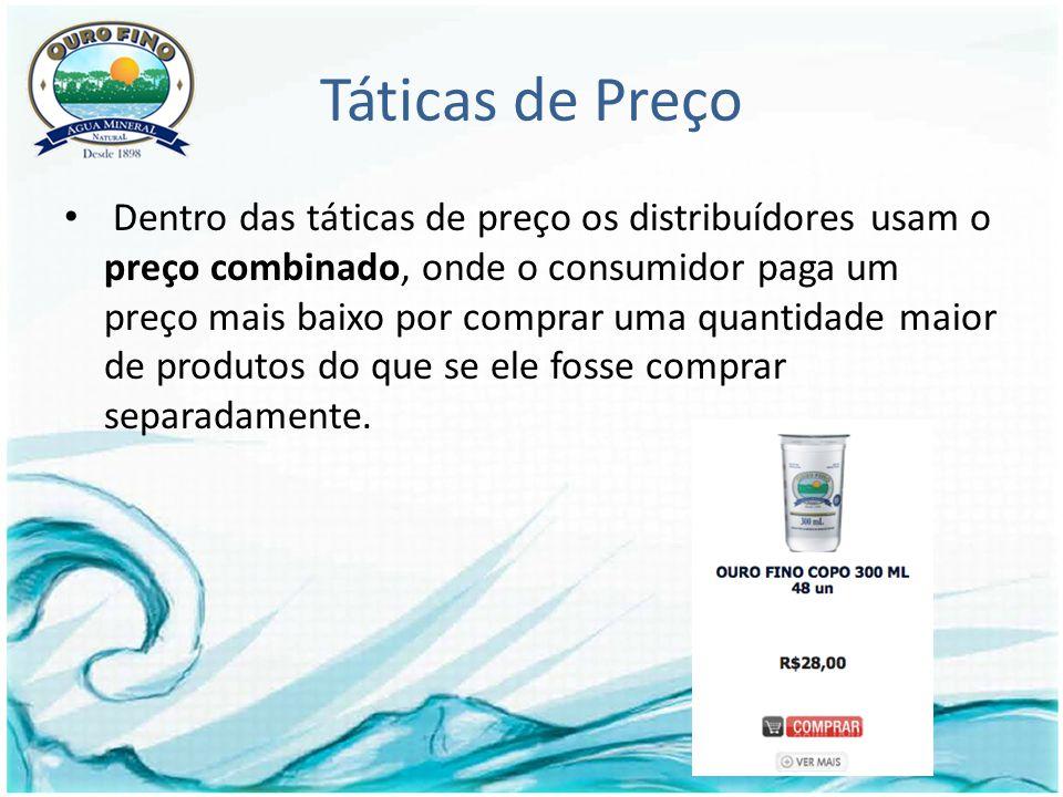 Táticas de Preço Dentro das táticas de preço os distribuídores usam o preço combinado, onde o consumidor paga um preço mais baixo por comprar uma quantidade maior de produtos do que se ele fosse comprar separadamente.
