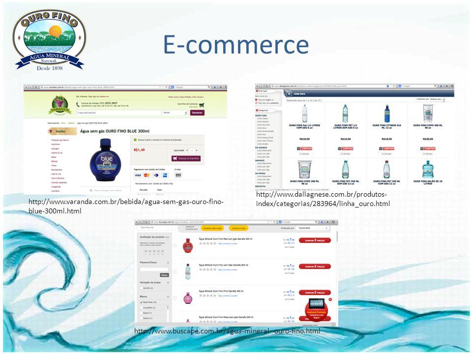 E-commerce http://www.buscape.com.br/agua-mineral--ouro-fino.html http://www.dallagnese.com.br/produtos- index/categorias/283964/linha_ouro.html http://www.varanda.com.br/bebida/agua-sem-gas-ouro-fino- blue-300ml.html
