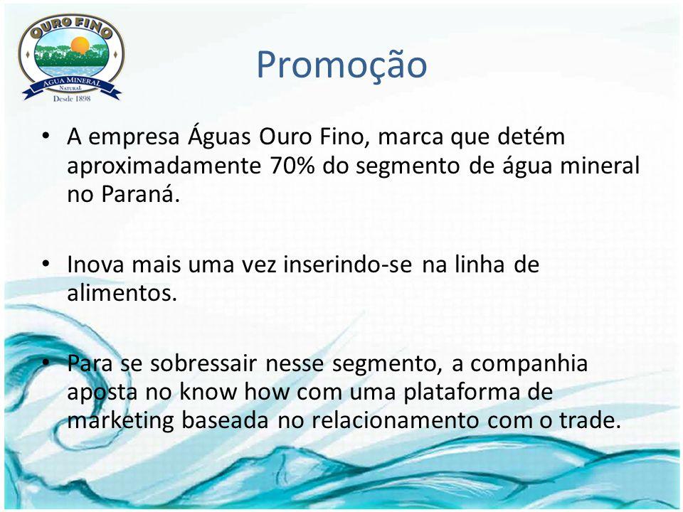 Promoção A empresa Águas Ouro Fino, marca que detém aproximadamente 70% do segmento de água mineral no Paraná.