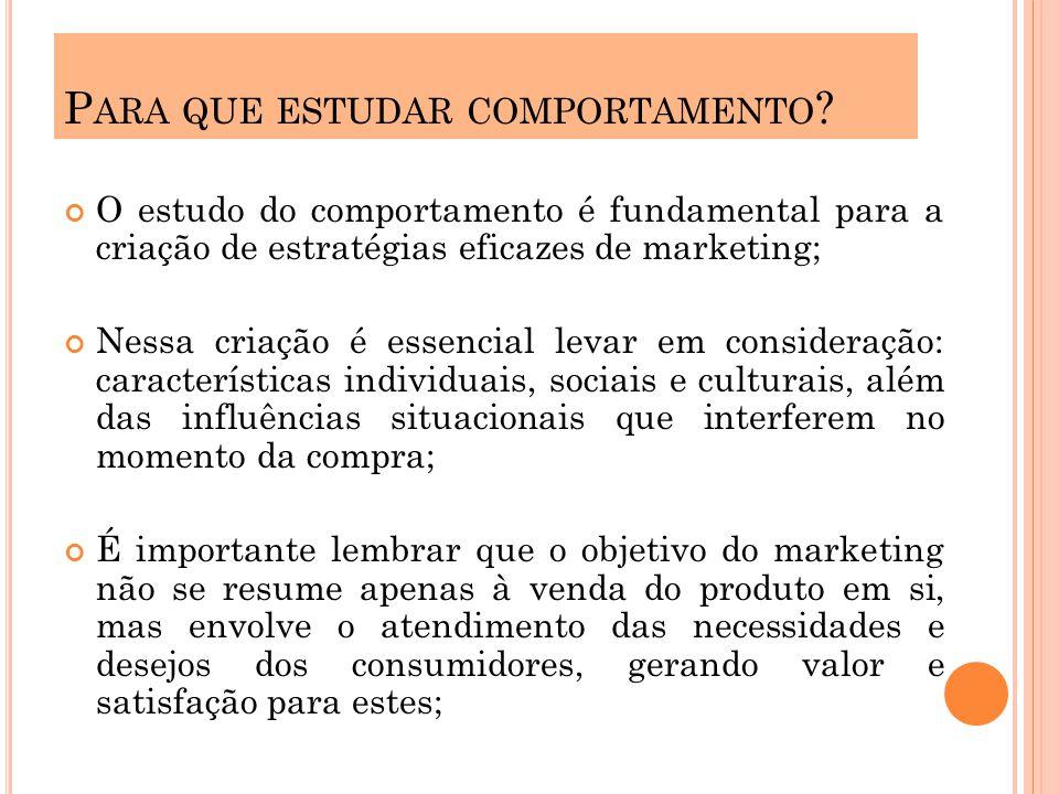O estudo do comportamento é fundamental para a criação de estratégias eficazes de marketing; Nessa criação é essencial levar em consideração: caracter