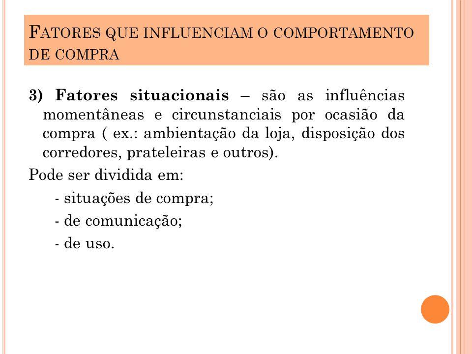 3) Fatores situacionais – são as influências momentâneas e circunstanciais por ocasião da compra ( ex.: ambientação da loja, disposição dos corredores