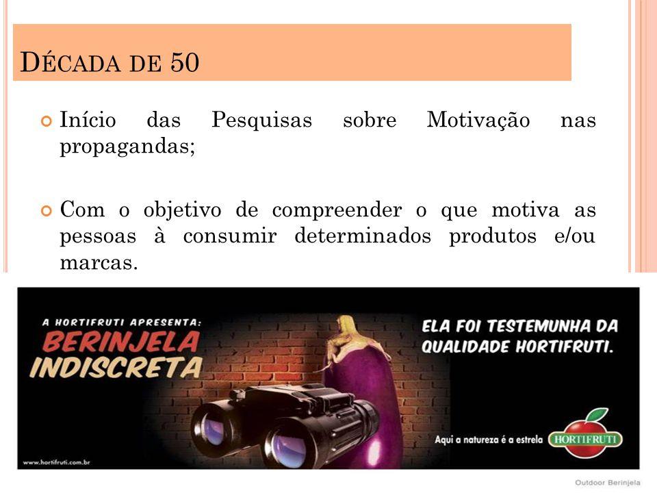 D ÉCADA DE 50 Início das Pesquisas sobre Motivação nas propagandas; Com o objetivo de compreender o que motiva as pessoas à consumir determinados produtos e/ou marcas.