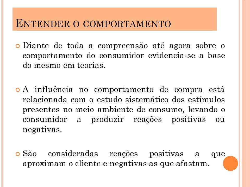 Diante de toda a compreensão até agora sobre o comportamento do consumidor evidencia-se a base do mesmo em teorias. A influência no comportamento de c