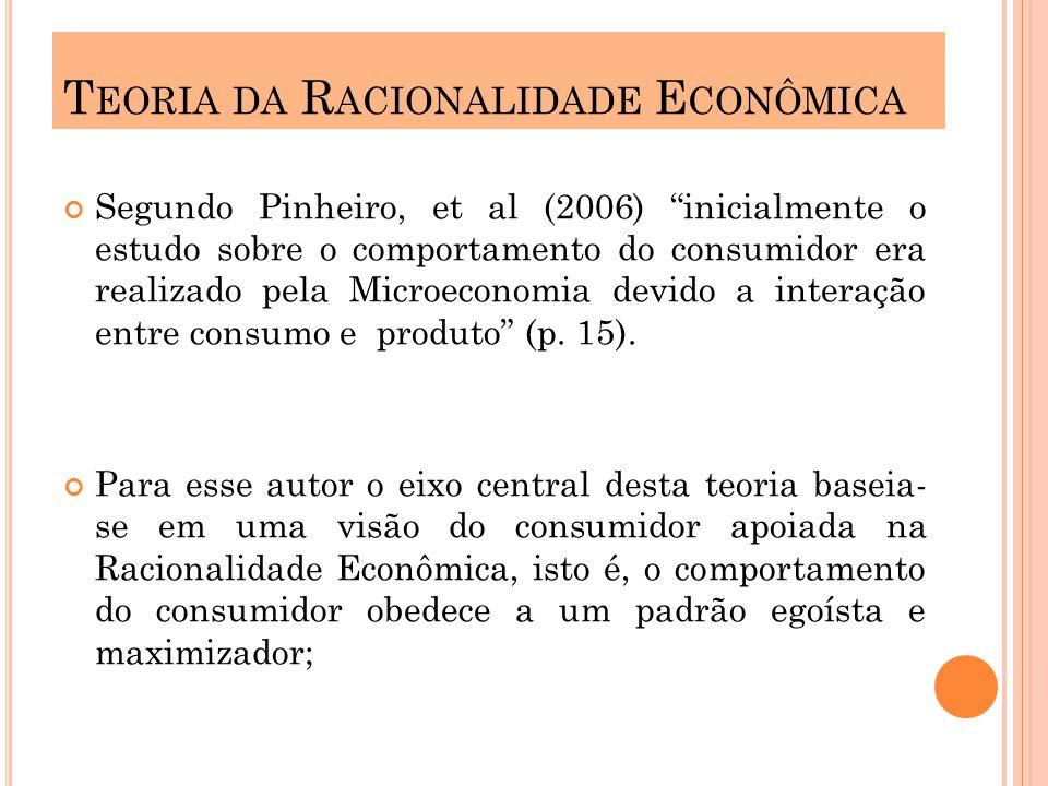 Segundo Pinheiro, et al (2006) inicialmente o estudo sobre o comportamento do consumidor era realizado pela Microeconomia devido a interação entre consumo e produto (p.