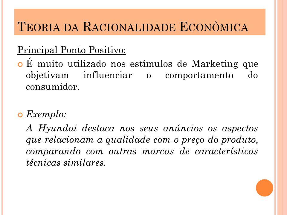 Principal Ponto Positivo: É muito utilizado nos estímulos de Marketing que objetivam influenciar o comportamento do consumidor.