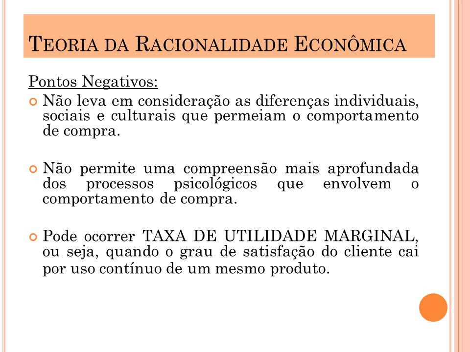 Pontos Negativos: Não leva em consideração as diferenças individuais, sociais e culturais que permeiam o comportamento de compra.