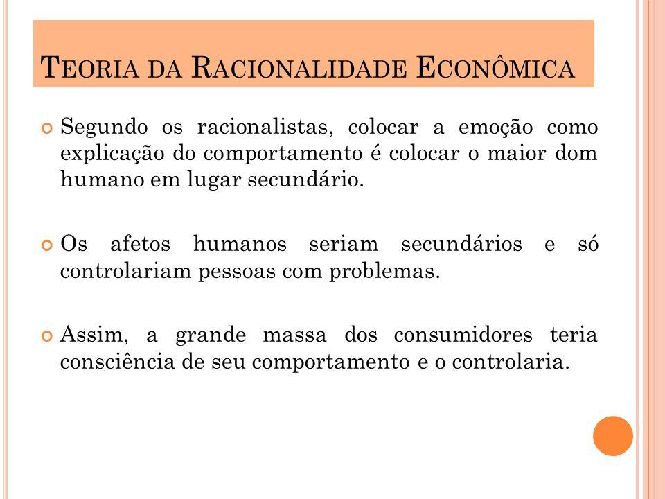 Para os economistas o consumo é ditado por escolhas racionais sobre a disponibilidade de produtos e recursos necessários para obtê-los.