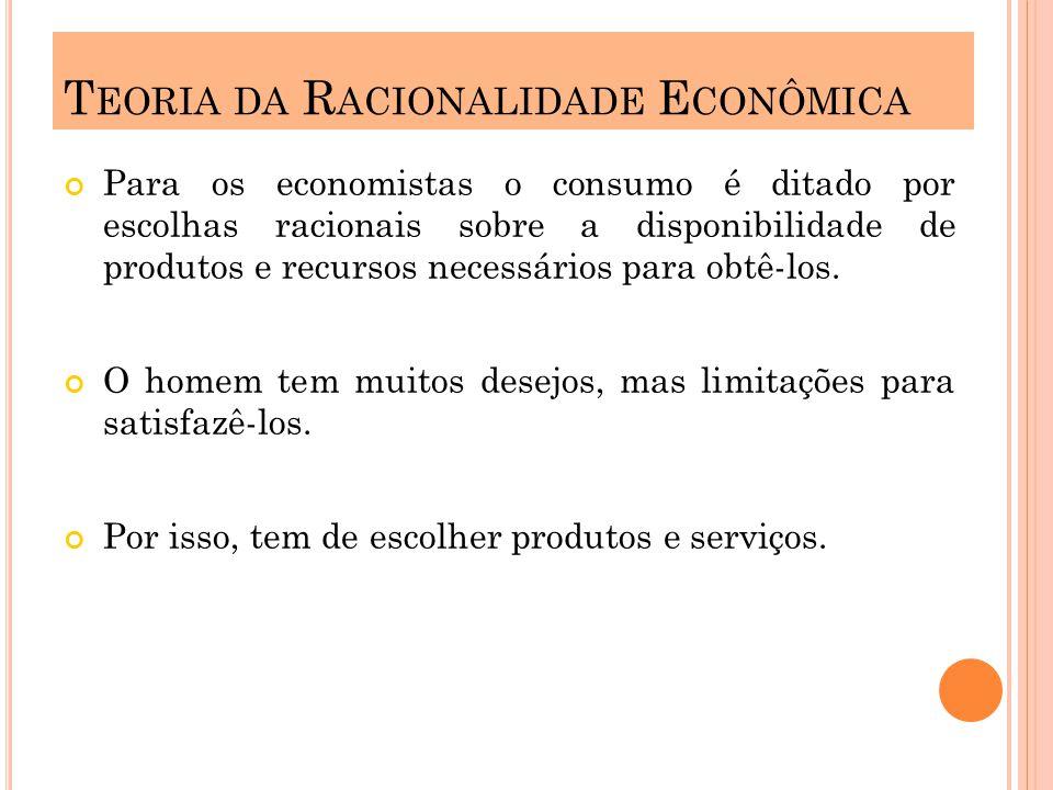 Para os economistas o consumo é ditado por escolhas racionais sobre a disponibilidade de produtos e recursos necessários para obtê-los. O homem tem mu