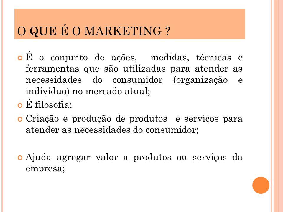 É o conjunto de ações, medidas, técnicas e ferramentas que são utilizadas para atender as necessidades do consumidor (organização e indivíduo) no merc